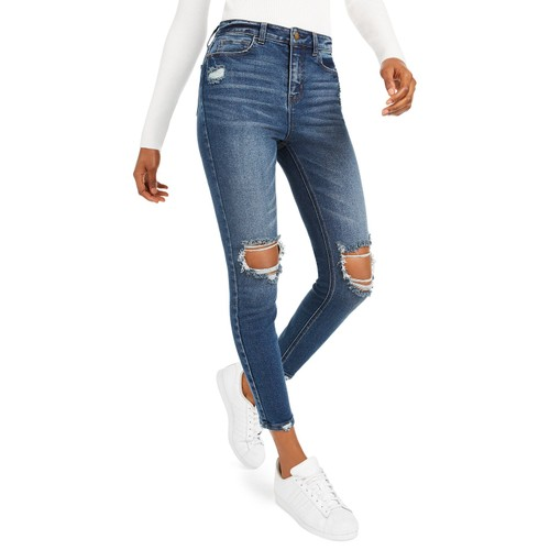 Vanilla Star Juniors' High-Rise Distressed Skinny Jeans Blue Size 13