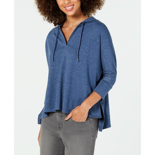 Style & Co Women's Hoodie 3/4 Sleeve Top Blue Size X-Large