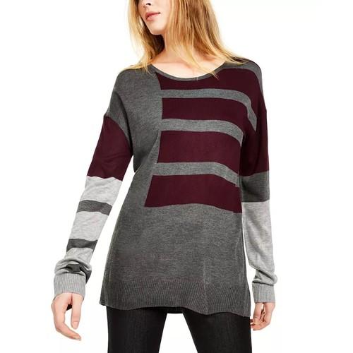 Calvin Klein Women's Colorblocked Crewneck Sweater Charcoal Size X-Large