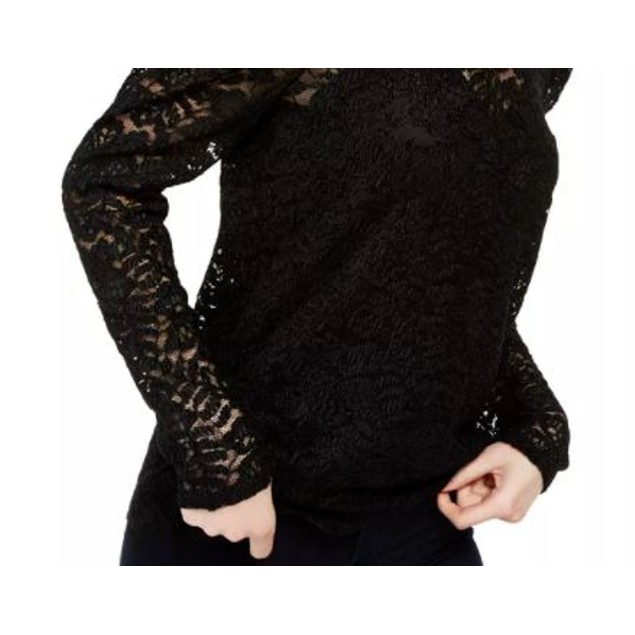 INC International Concepts Women's Lace Top Black Size Small