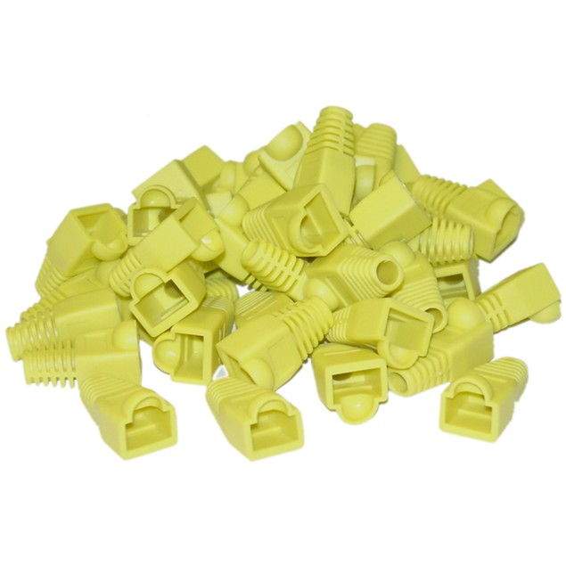 RJ45 Strain Relief Boots, Yellow, 50 Pieces Per Bag