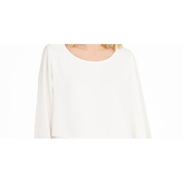 Alfani Women's Asymmetrical-Overlay Blouse Ivory Size Large