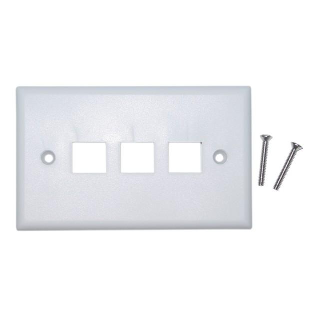 Keystone Wall Plate, White, 3 Hole, Single Gang