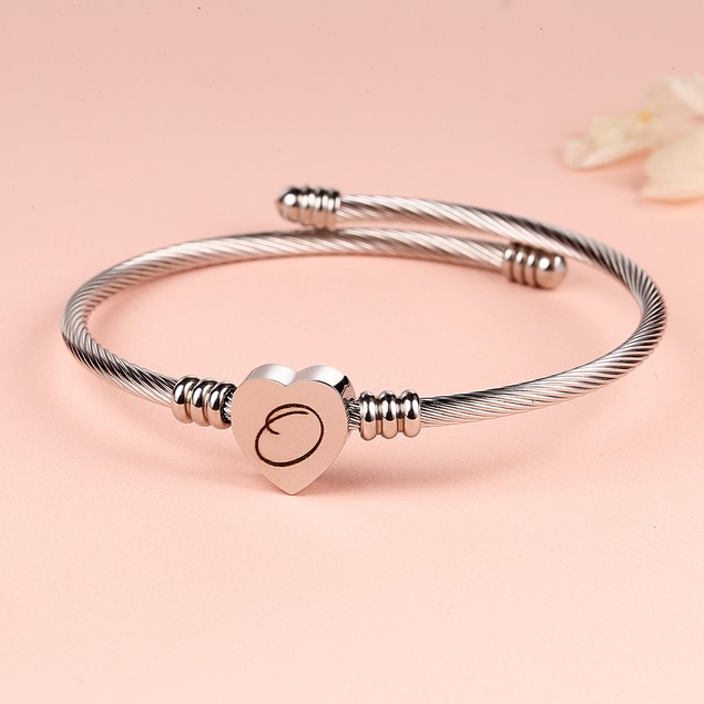 Twisted Steel Heart Cable Initial Bracelet