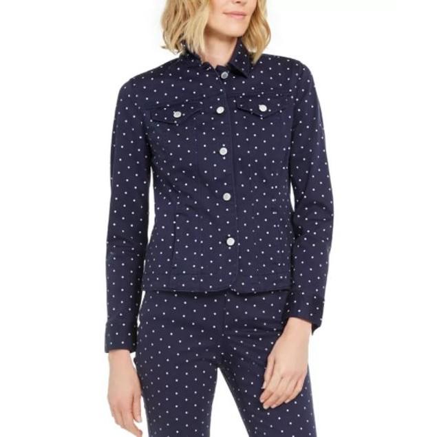 Charter Club Women's Printed Denim Jacket Blue Size Petite Small