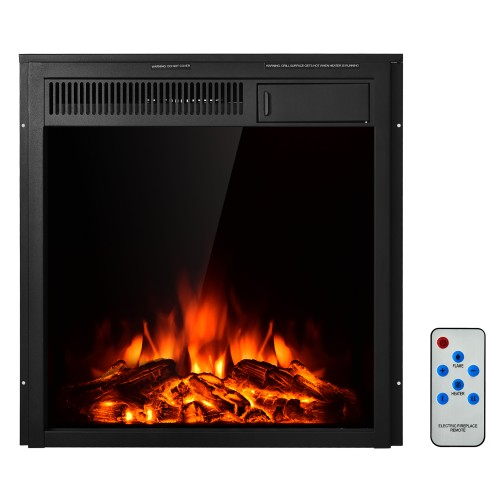 Costway 22.5'' Electric Fireplace Insert Freestanding & Recessed Heater Log
