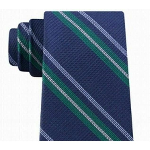 Tommy Hilfiger Men's Classic Textured Stripe Tie Green Size Regular