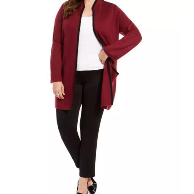 Alfani Women's Plus Sweater Jacket Red Size 1X