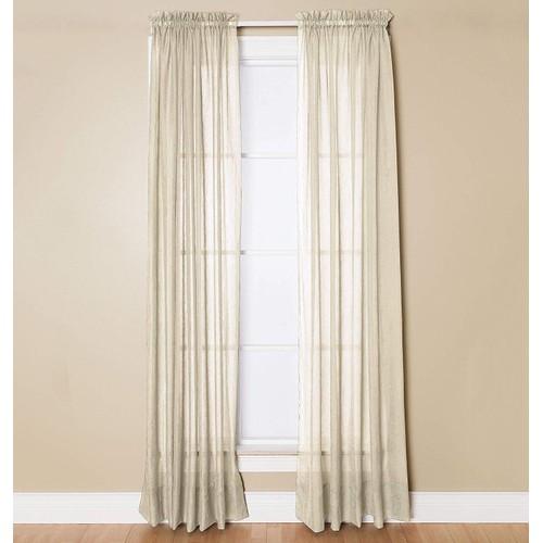 """Miller Curtains Preston Rod Pocket Window One Panel Beige 52"""" x 95"""""""