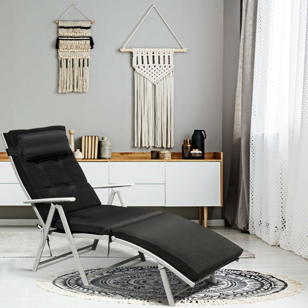 Costway Folding Chaise Lounge Chair w/Cushion Black\Gray\Turquoise