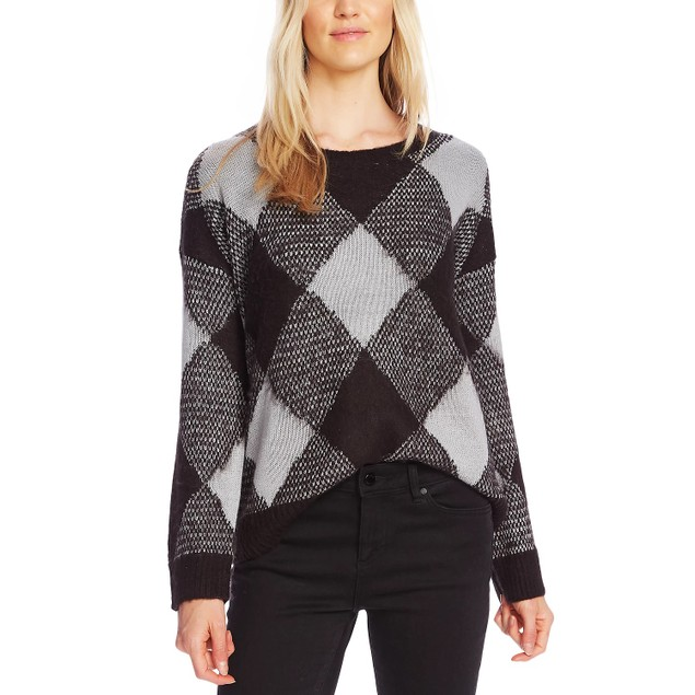 Vince Camuto Women's Fuzzy Argyle Sweater Medium Grey Size Medium