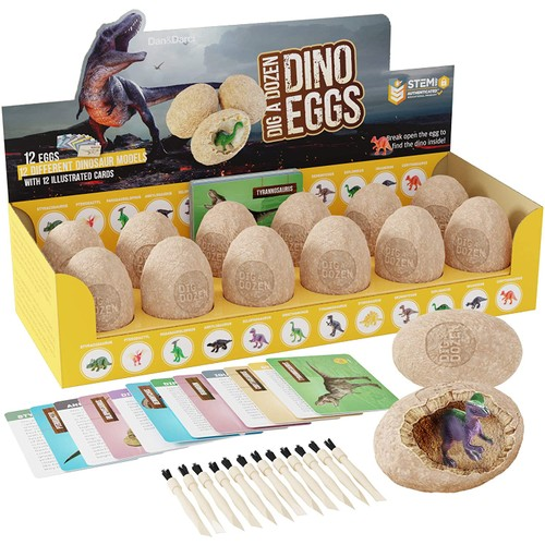 Dig a Dozen Dino Eggs Dig Kit - Break Open 12 Unique Large Surprise Dinosaur Filled Eggs & Discover 12 Cute Dinosaurs