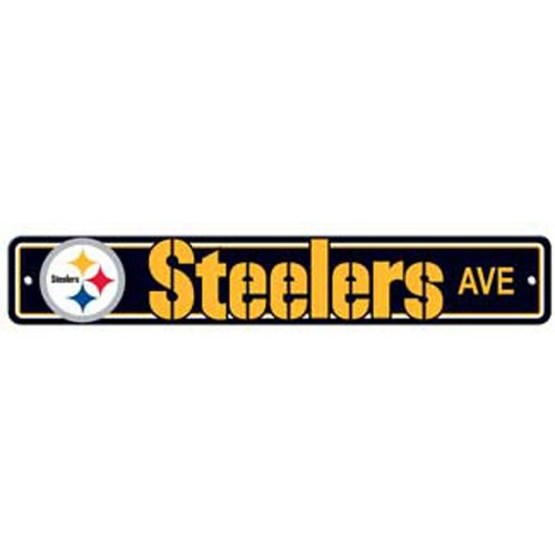 "Pittsburgh Steelers Ave Street Sign 4""x24"" NFL Football Team Logo Man Cave"