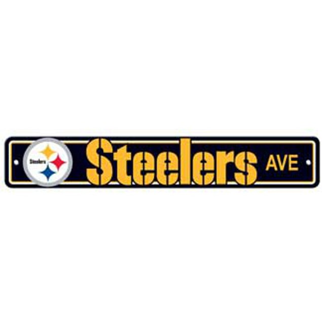 """Pittsburgh Steelers Ave Street Sign 4""""x24"""" NFL Football Team Logo Man Cave"""