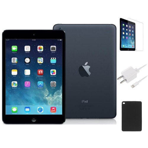 Apple iPad Mini 16GB Black WiFi Bundle (Charger, Case, Tempered Glass)