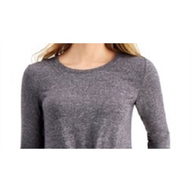 Style & Co Women's Long-Sleeve Crewneck Top Charcoal Size XX-Large
