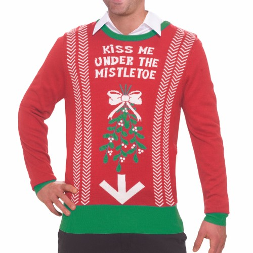 Kiss Me Under The Mistletoe Ugly Christmas Sweater Tacky Funny Sweatshirt