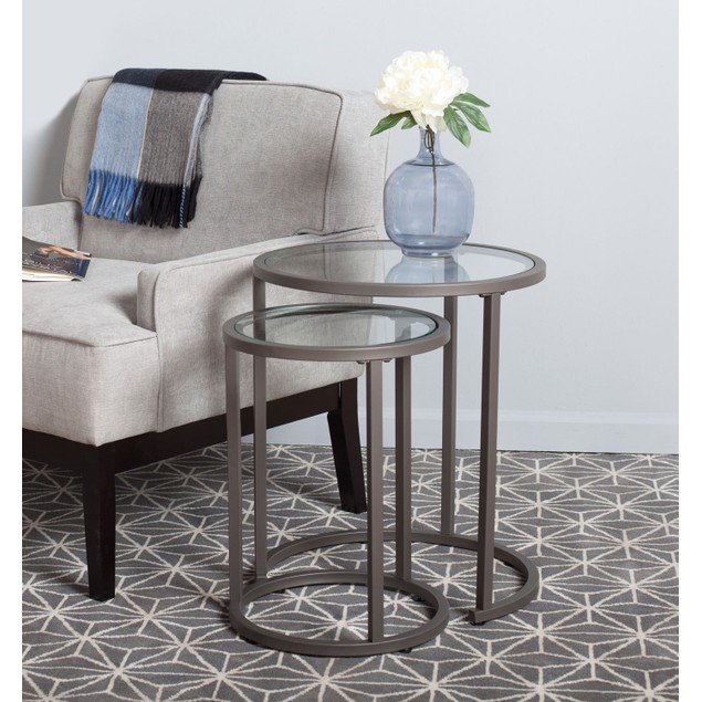 Studio Designs Camber Nesting Table - Pewter/Clear Glass