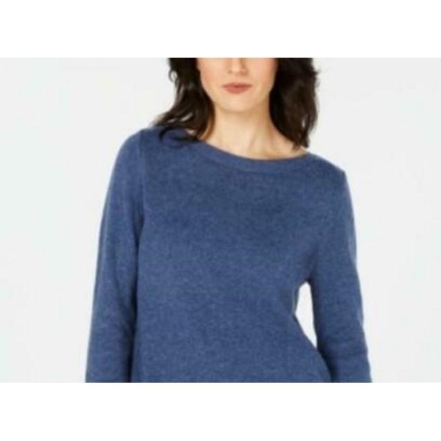 Karen Scott Women's Solid Curved-Hem Tunic Blue Size Extra Large