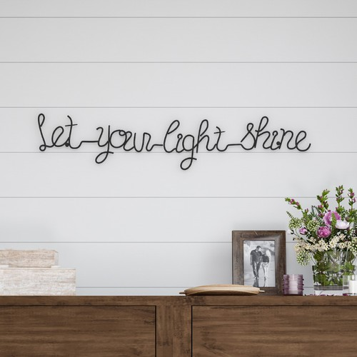Metal Cutout- Let Your Light Shine Cursive Sign-3D Word Art