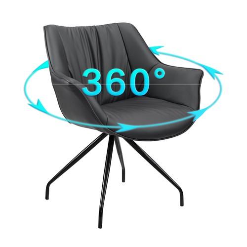 Art-Leon Modern Swivel Desk Chair with Black Metal Legs