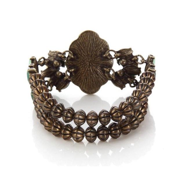 Novadab Turquoise Princess-cut Antique Style Bracelet
