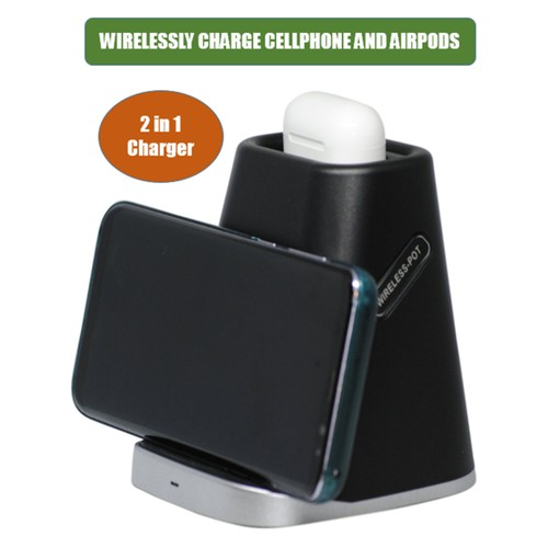 Fast Charging, 2 in 1 Wireless Charger for iPhone, Galaxy, and Airpods