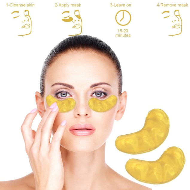 Anti Aging Crystal 24K Gold Powder Gel Collagen Eye Masks - 3 Applications