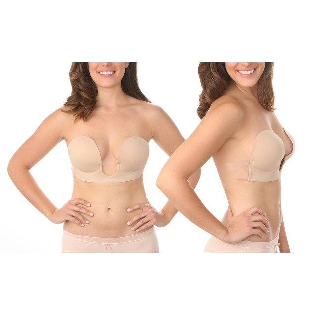 Women's U-Plunge Adhesive Strapless Backless V-Bra