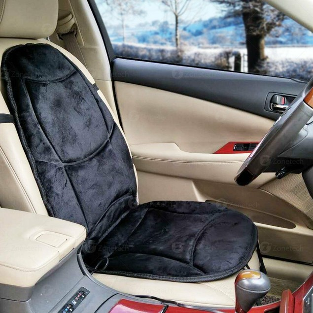 Zone Tech Velour Black Car Heated Thickening Seat Chair Cushion Pad Cover