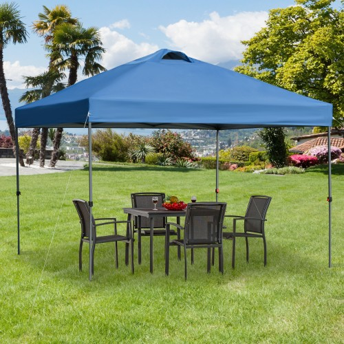 10' x 10' Outdoor Pop Up Canopy Tent Gazebo w/ Adjustable Legs and Bag Blue