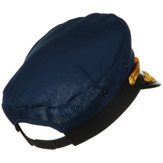 Navy Yacht Captain Hat With Scrambled Eggs Costume Blue Cap Sailor Adult