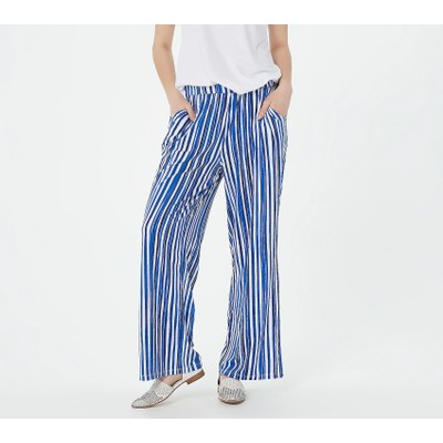 Elizabeth & Clarke Printed Wide-Leg Pants with StainTech, XS, Royal Blue