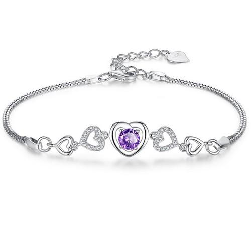 18K White Gold Purple Plated Amethyst Crystal Heart Bracelet