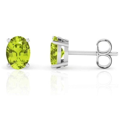 Solid Sterling Silver Oval Peridot Studs