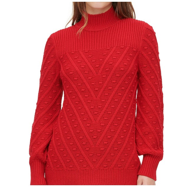 Calvin Klein Women's Multi-Textured Mock-Neck Sweater Red Size Medium
