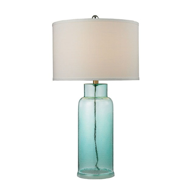 """Glass Bottle LED Table Lamp in Seafoam Green - White Shade - 30""""H"""