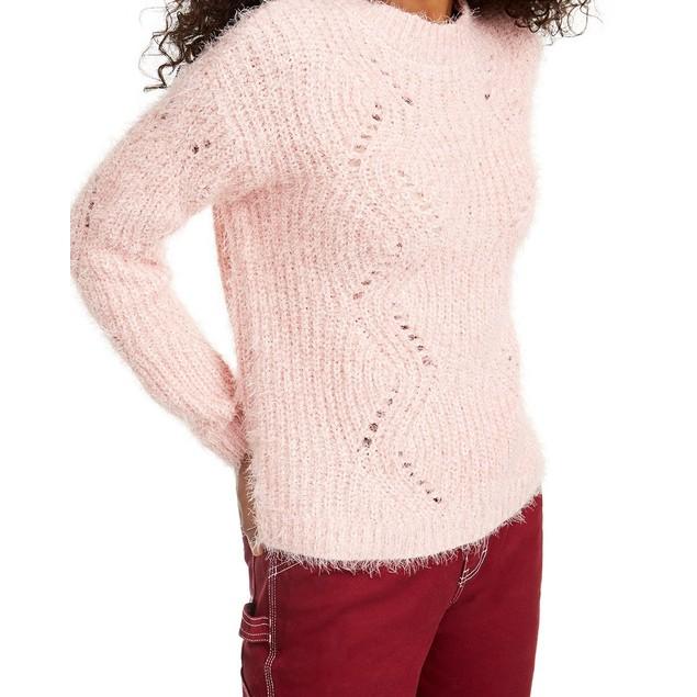 Freshman Juniors' Pointelle Chenille Sweater Pink Size Large