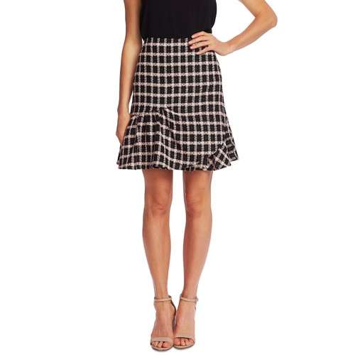 Cece Women's Grid Tweed Asmymmetrical Ruffle Skirt Black Size 8