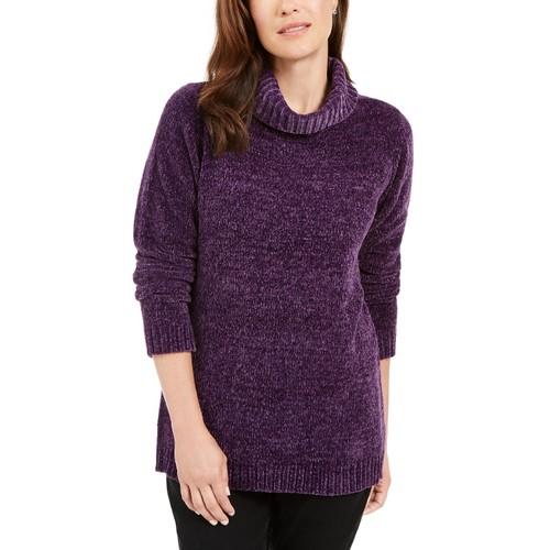 Karen Scott Women's Chenille Mock-Neck Sweater Purple Size Medium