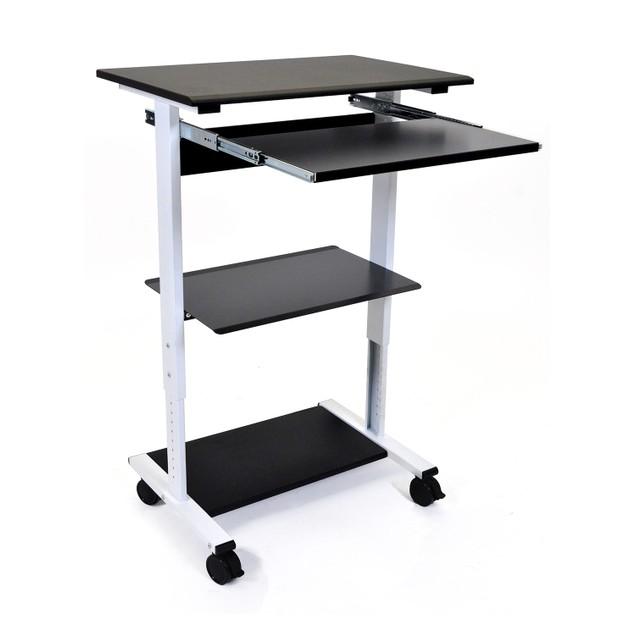 """Luxor 45"""" Three Shelves Adjustable Stand Up Workstation - Black"""