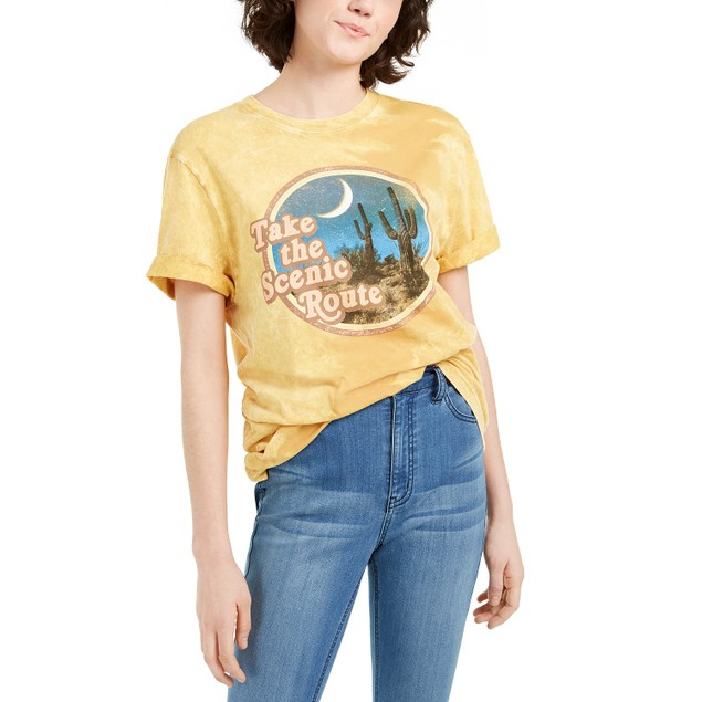 True Vintage Women's The Scenic Route Cotton T-Shirt Yellow Size Small