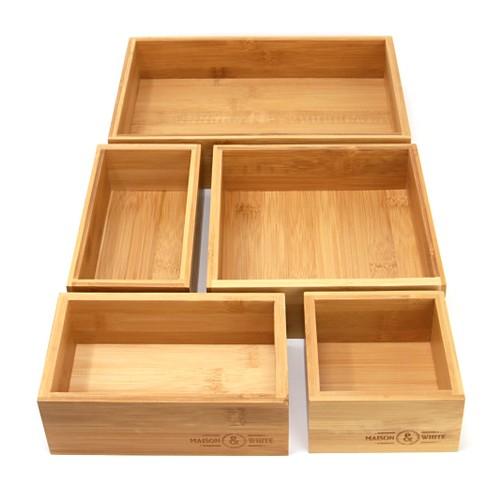 MandW 5 Piece Bamboo Drawer Organiser