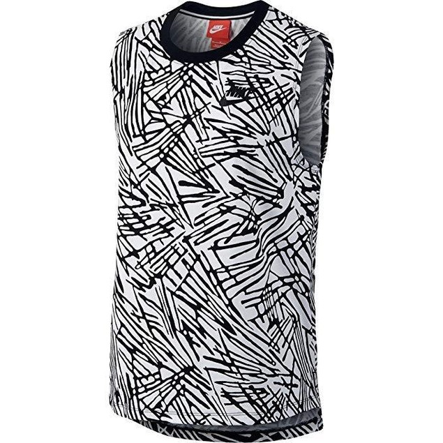 New NIKE Women's Muscle Sport Casual Tank Top-Black/White Sz Medium