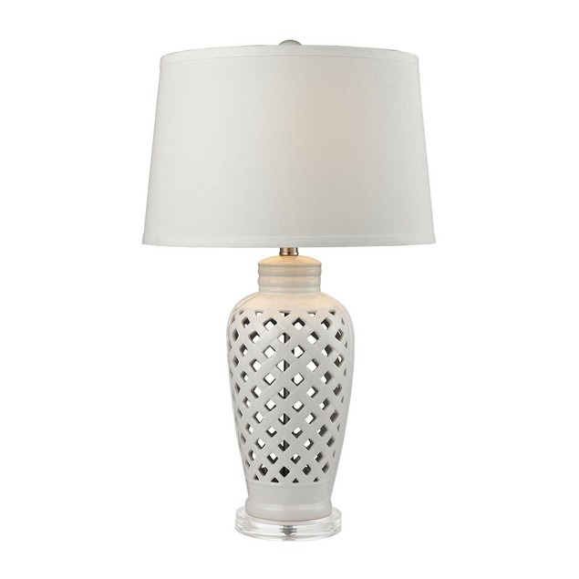 Dimond Lighting Openwork Ceramic LED Table Lamp in White With White Shade