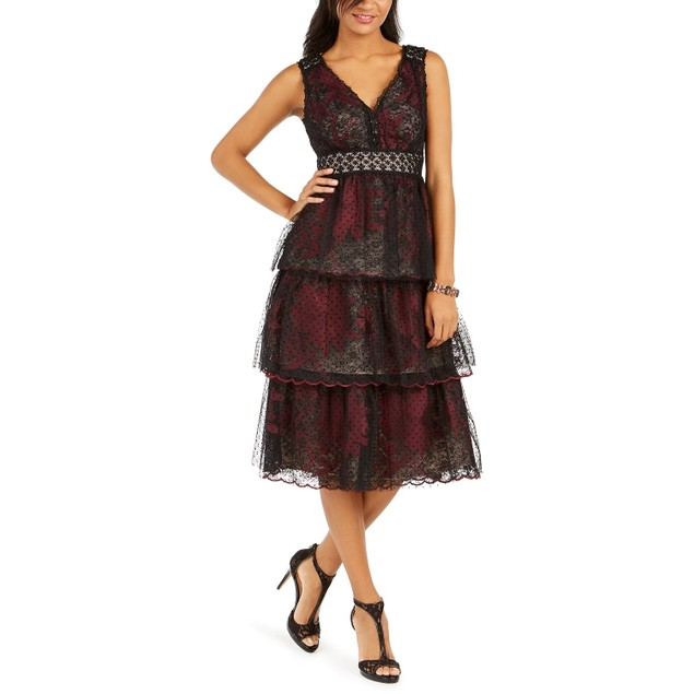 Taylor Women's Dresses Tiered Lace Midi Dress Black Size 12