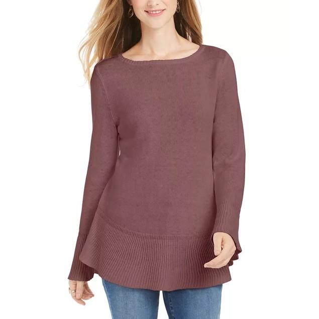 Style & Co Women's Ruffle Hem Knit Sweater  Purple Size ium