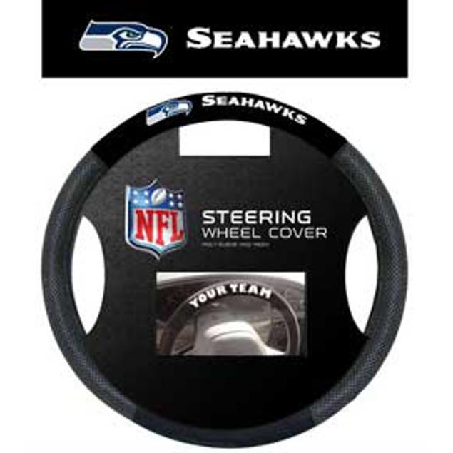 Seattle Seahawks Steering Wheel Cover NFL Football Team Logo Poly Mesh