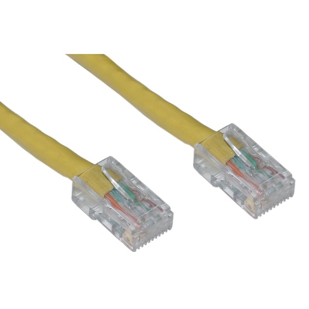 Cat6 Yellow Ethernet Patch Cable, Bootless, 7 foot