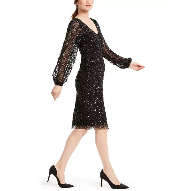 Adrianna Papell Women's Sequin Cocktail Dress Black Size 8